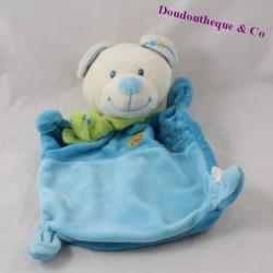 Doudou flat bear NICOTOY blue green scarf 22 cm