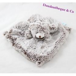 Doudou plat ours BABY NAT' Les Flocons chiné BN051
