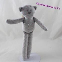 Doudou cat BOUT'CHOU Monoprix grey star pink 30 cm