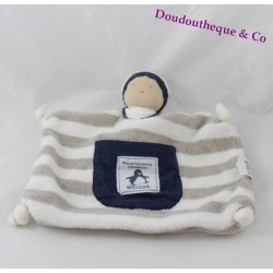 Doudou flat baby MAUD FONTENOY weleda white brown blue striped