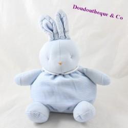 Doudou boule lapin KLORANE bleu rayures 21 cm