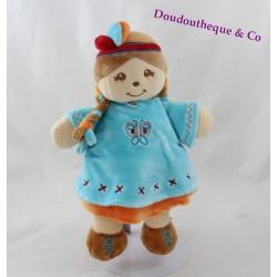 Doudou poupée Indienne Noa NOUKIE'S Kaya et Pinto bleu orange 25 cm