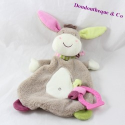 Doudou flat donkey TIGEX Babysun beige ring dentition 28 cm