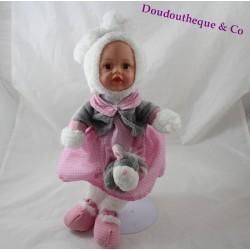 Poupée lapin CORSICA robe rose pois blanc âne gris 40 cm
