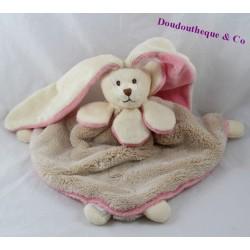 Doudou flat rabbit BUKOWSKI beige pink triangle 28 cm