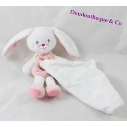 Doudou rabbit rabbit handkerchief SUCRE D'ORGE brown pink heart 20 cm