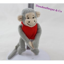 Mini doudou monkey Popi BAYARD red jersey 12 cm