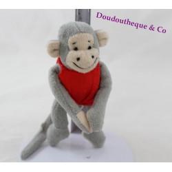 Mini doudou singe Popi BAYARD maillot rouge 12 cm