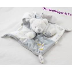 Flat Doudou bear MAX - SAX hooded rabbit gray phosphorescent stars Carrefour