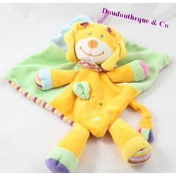 Flat Doudou Lion POMMETTE orange and green leaf under striped 34 cm