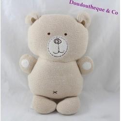 Doudou ours NATURES PUREST beige bio Hug Me coton tricot grelot 23 cm