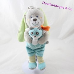 Musical bunny tex BABY panda blue green scarf orange 26 cm