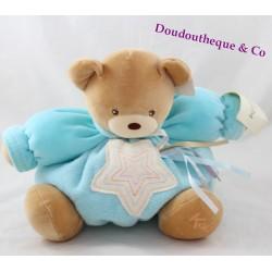 Doudou patapouf ours KALOO étoile et rubans bleu 10ème anniversaire 20 cm