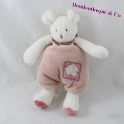 Doudou rattle mouse MOULIN ROTY Blueberry and Capucine pink shivering 20 cm