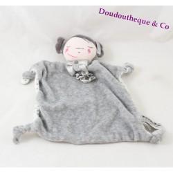 Doudou flat doll TAPE A OEIL girl gray polka dots 20 cm