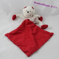 Doudou handkerchief bear BERLINGOT red stripes 18 cm