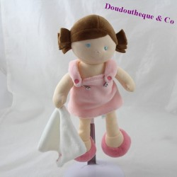 Doudou mouchoir fille BABY NAT' Les p'tites chipie poupée brune robe rose 26 cm