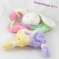Doudou puppet rabbit BABY NAT Candy lollipop 25 cm