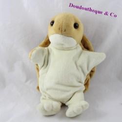 Doudou marionnette tortue AU SYCOMORE marron 25 cm