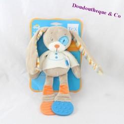 Doudou lapin TEX BABY chien cocard bleu anneau dentition 24 cm