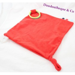 Doudou flat square red OXYBUL rings dentitions labels knot 30 cm