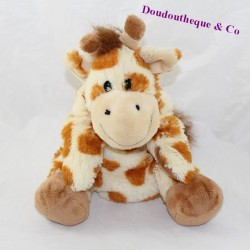 Doudou marionnette girafe AJENA beige tâches marron 23 cm