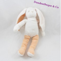 Doudou lapin SERGENT MAJOR blanc rayures orange 25 cm