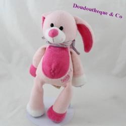 Peluche lapin BABY NAT rose rayures 26 cm
