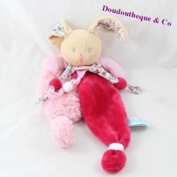 Doudou flat rabbit BABY NAT' Poupi pink flowers BN0111 29 cm