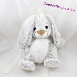 Sac à dos peluche lapin RODADOU chiné gris blanc 36 cm