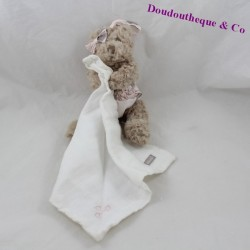 Doudou handkerchief bear ABSORBA held pink 18 cm