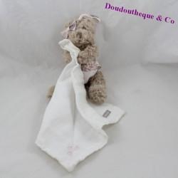 Doudou mouchoir ours ABSORBA tenue rose 18 cm
