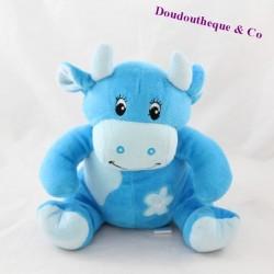 Peluche vache ARTHUR ET LOLA bleu fleur grelot 21 cm