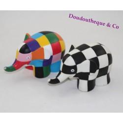 Figurines éléphant Elmer PLASTOY patchwork multicolore noir blanc 12 cm