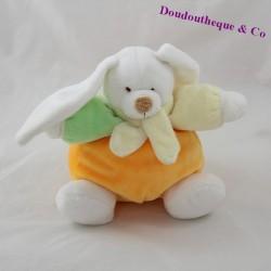 Doudou boule lapin LASCAR orange vert 17 cm