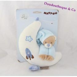 Doudou musical ours NATTOU lune bleu 24cm