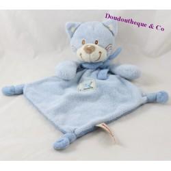 Doudou plat chat NICOTOY bleu losange écharpe 32 cm