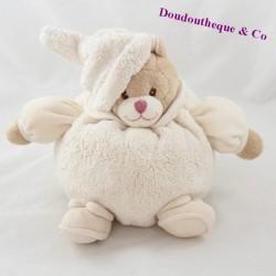 Peluche boule ours BUKOWSKI Ivo blanc crème bonnet 21 cm
