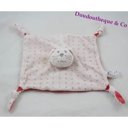 Doudou flat cat BOUT'CHOU Monoprix white stars pink square 23 cm