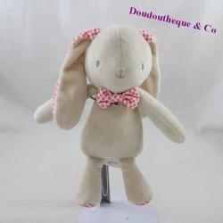 Doudou lapin KLORANE beige rose carreaux 23 cm