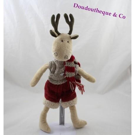 Reindeer reindeer short sweater shorts and scarf in Wool Christmas 37 cm