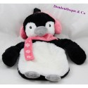 Stuffed penguin hot water bottle PRIMARK white black pink scarf 35 cm