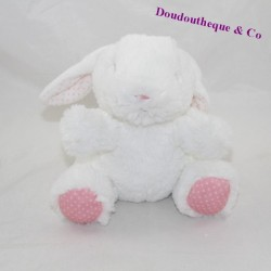 Peluche lapin TEX BABY fourrure blanc rose pois rose 17 cm
