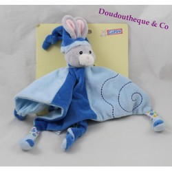 Doudou flat blue GIPSY rabbit leaves green 25 cm