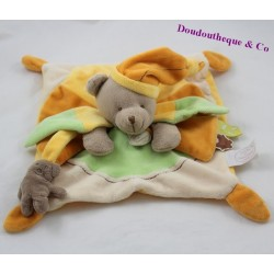 Doudou flat bear DOUDOU AND COMPAGNIE Melis green orange cap DC2646 23 cm