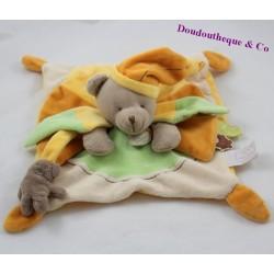 Doudou flat bear DOUDOU AND COMPAGNIE Melis green orange cap DC2646 23 cm