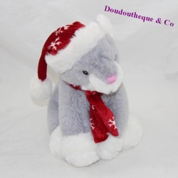 Cat towel FRANCOISE SAGET Noel grey red scarf cap 22 cm