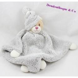 Doudou plat ours BUKOWSKI gris beige 28 cm