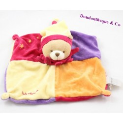 Doudou flat bear BABY NAT orange harlequin yellow 24 cm