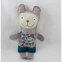 Doudou rabbit MINILABO felt grey blue green flowers 25 cm